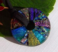 Dichroic Glass Pendant , Fused Glass Jewelry , Glass Donut Multicolored Necklace WHEEL JAYNE