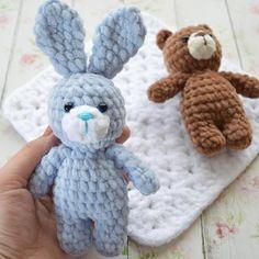 Crochet bunny amigurumi from plush yarn