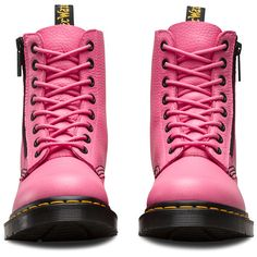 Dr. Martens Leather Pascal W/zip Boots ($140) ❤ liked on Polyvore featuring shoes, boots, pink, leather zipper boots, dr martens boots, zip boots, zipper shoes and pink boots