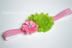 Watermelon Shabby Chic Chiffon Flower & Satin Flower Headband (Lime Green, Chevron, Pink) Baby Girl, Newborn, Infant, Toddler, Child by PurpleFairyCreations, $6.00