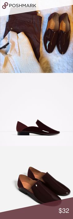 Listing-Zara asymmetrical flats Rich burgundy color, light weight for an all day wear. The front are glossy, the back is suede. EUC from non smoking home Zara Shoes Flats & Loafers