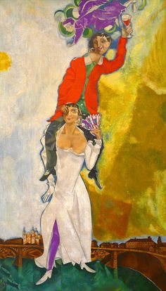 'Double Portrait with a Glass of Wine' (1918) by Marc Chagall