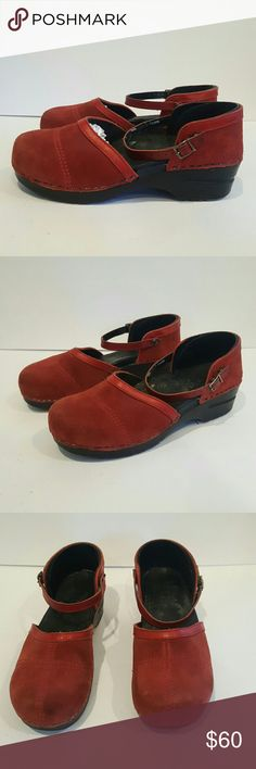 DANSKO RED SUEDE SIZE 40 WOMENS SHOES ANKLE STRAP DANSKO RED SUEDE MARY JANE SIZE 40 GUC PLENTY OF LIFE LEFT LOOKS GREAT NO MAJOR DAMAGES Sandals summer mary jane ankle strap Cute flat mule clog Dansko Shoes Flats & Loafers