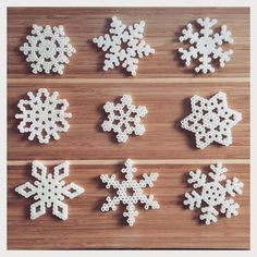 Snowflakes perler beads by greybaby - Basteln Hama Beads Design, Diy Perler Beads, Perler Bead Art, Pixel Art Noel, Christmas Perler Beads, Art Perle, Peler Beads, Pearler Bead Patterns, Iron Beads