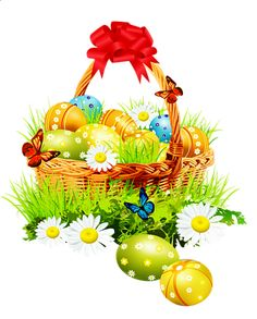 easter basket | Beautiful Easter Basket with Red Ribbon