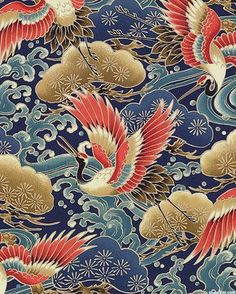 Cranes over Water - Navy Blue. Japanese Textiles, Japanese Fabric, Japanese Prints, Japanese Design, Japanese Painting, Chinese Painting, Chinese Art, Chinese Patterns, Japanese Patterns