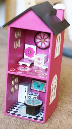 doll house made with CD storage boxes