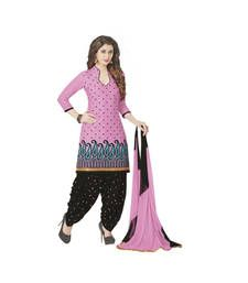 Buy multicolor printed Cotton unstitched salwar with dupatta dress-material online
