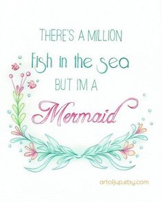 Mermaid art quote water color. Art Print quote by ArtofJup on Etsy