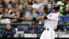 Ichiro swings on the first home run Wednesday, April 18, 2012, in Seattle