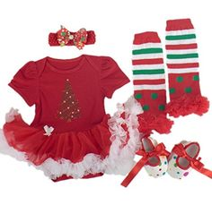 Starkma 4pclot Baby Girls Set Christmas Drilling Tree Clothes C03 S >>> Continue to the product at the image link.