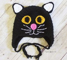 Here is the purrrfect cat hat for Halloween! Or if you just happen to like black cats.... or any...