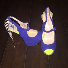 e217b4b1043 Shoes - Royal Blue Zebra Heels Size 7.5 W Zebra Heels