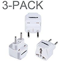 TESSAN Grounded Universal Travel Plug Adapter USA to Europe Travel Prong Converter Adapter Plug Kit for Europe(Type C) - 3 Pack(WHITE) * Click on the image for additional details.