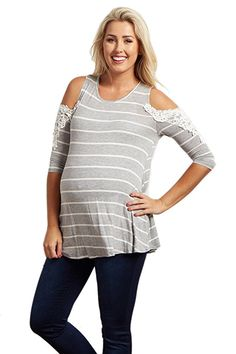 fafb06ebc0 PinkBlush Maternity Striped Open Shoulder Crochet Accent Top at Amazon  Women s Clothing store  Maternity Jeans