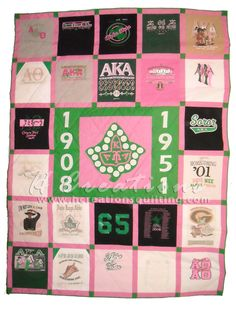 Alpha Kappa Alpha quilt  Maybe you could do this with your letter shirts so you don't throw them out but aren't wasting space?