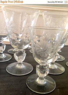 ON SALE Set of 12 vintage etched glass crystal by VintageSowles
