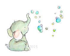 "A baby elephant and its bubbles...a delightfully whimsical piece, designed to be matched with its counterpart ""Bunny Bubbles"". - art print from an original watercolor, gouache, and acrylic painting by"