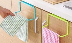 One or Two Kitchen Organiser Towel Rack Hanging Holders Kitchen Towel Rack, Towel Rack Bathroom, Towel Organization, Kitchen Organization, Kitchen Cabinets In Bathroom, Kitchen Shelves, Towel Hanger, Cupboard Doors, Kitchen Supplies