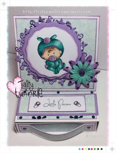 Tatty Twinkles stamps set Baby Bouncer, easel card with drawer