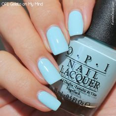 38 ideas white and baby blue nails acrylic for 2019 Blue Shellac Nails, Opi Nail Polish, Opi Nails, White Nails, Acrylic Nails, Nail Polishes, Nail Nail, Baby Blue Nails, Light Blue Nails
