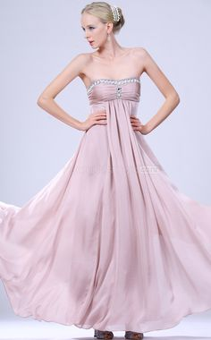 Lavender Chiffon A-line Strapless Floor-length Bridesmaid Dresses(NZBD06467)