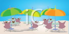 iCLIPART - Royalty Free Clipart Image of Patio Sets and Umbrellas at the Beach