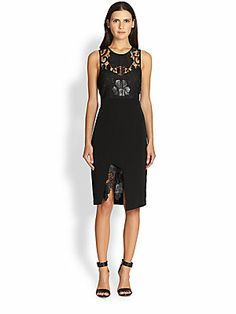 Stylestalker TLC Faux Leather-Coated Lace-Paneled Dress