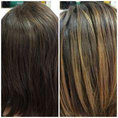 Natural sun-kissed balayage highlights on virgin brown hair.