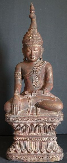Burmese Amarapura wood Buddha statue, early 20th century