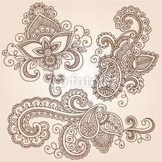 Vector: Ornate Henna Paisley Doodle Vector Design Elements