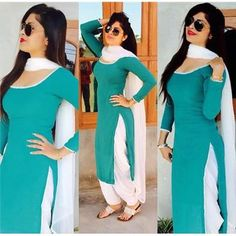 Indian Beauty Summer Green Un-Stitched Free Length Dress - Dress With White… Patiala Dress, Punjabi Dress, Pakistani Dresses, Indian Dresses, Indian Outfits, Patiala Suit Designs, Kurti Designs Party Wear, Salwar Designs, Blouse Designs