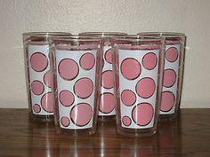 Pink Polka Dot Glasses Hazel Atlas Set of 5 Vintage Retro