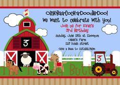 Farm Birthday Invitations Photo