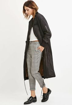 Contemporary Longline Drawstring Bomber Jacket - Shop All - 2000143114 - Forever 21 EU English