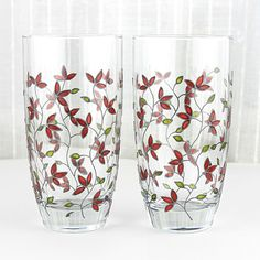 Hand Painted Glasses, Tumblers, Anniversary glasses, Set of 2,  Red Tulips