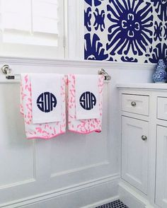 Beautiful bathroom with monogram guest towels.