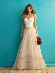 Strapless Sweetheart A-line Weding Dress with Beaded Belt