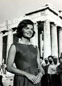 Political Personalities, pic: June Athens, America's First Lady Jacqueline Kennedy, the wife of President Kennedy, pictured at the Acropolis during a visit to Greece (Photo by Paul Popper/Popperfoto/Getty Images) Jacqueline Kennedy Onassis, John Kennedy, Les Kennedy, Caroline Kennedy, First Ladies, John Fitzgerald, Love Affair, Jfk, Marie