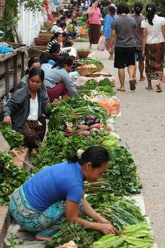 Morning Market, in the streets of Luang Prabang, Laos