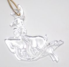 Vintage mikasa Germany clear glass ornament holiday Christmas Reindeer w/Bow