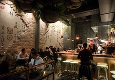 Sydney theatregoers will not be the only ones impressed by the opening of Walsh Bay's cosy and modern new dumpling bar. Asian Cafe, Asian Bistro, Bistro Interior, Restaurant Interior Design, Restaurant Interiors, Faux Brick Walls, Grey Brick, Feature Wall Design, Asian Restaurants