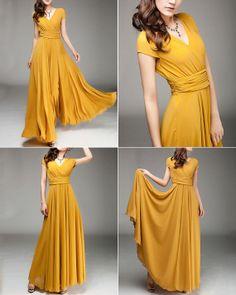 Cap Sleeve Yellow Maxi Dress Ginger Yellow Chiffon by DressStory