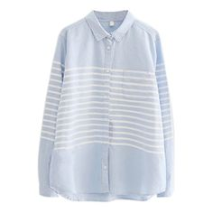 Lapel Stripes Button Down Long Sleeve Curved Hem Shirt (€26) ❤ liked on Polyvore featuring tops, blouses, shirts, long-sleeve crop tops, long-sleeve shirt, long white shirt, long sleeve tops and white cotton shirt