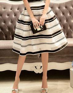 #AdoreWe #VIPme Skirts - Dabuwawa Chic White Casual Stripes Folds Midi Skirt - AdoreWe.com