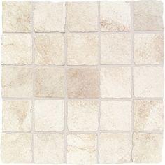"Daltile Portenza 3"" x 3"" Tumbled Mosaic Field Tile in Bianco Ghiaccio $16.43/sf -- insert / shower floor?"