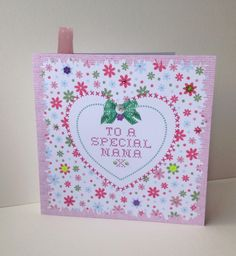 Greeting Card Mother's Day,For Nana,Printed Floral Design,Handfinished Card £1.95