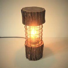 Resultado de imagen de lamparas hechas con troncos de madera