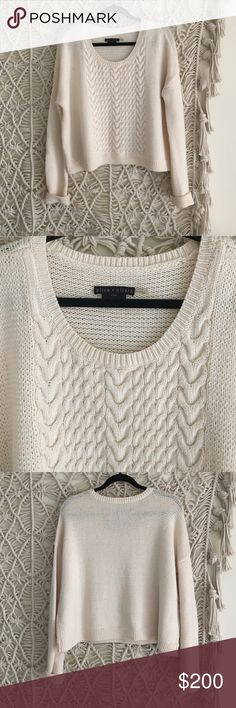 Alice + Olivia base wool cable knit sweater 100% wool. A little worn but still looks great! Alice + Olivia Sweaters Crew & Scoop Necks