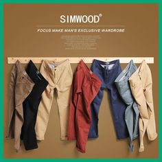 Simwood Brand Autumn Winter New Fashion 2017 Slim Straight Men Casual Pants  100% Pure Cotton 7bd2b63924